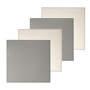 Pack Of Four Reversible Cream And Grey Square Placemats