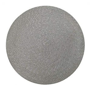 Pack Of Two Woven Round Silver Placemats