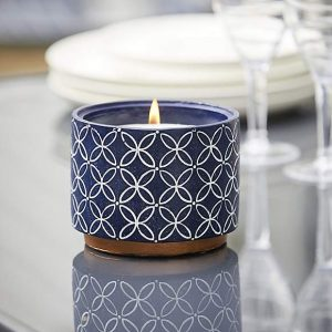 Citronella Candle in Patterned Cement Pot