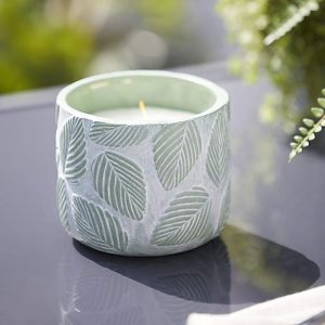 Citronella Candle in Leaf Pattern Ceramic Pot