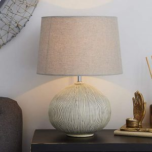Dahlia Scratched Resin Grey Table Lamp