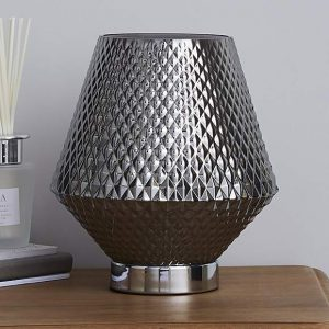 Miah Smoked Glass Touch Dimmable Table Lamp