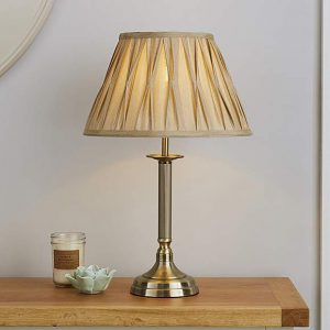Reeded Antique Brass Table Lamp