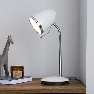 Tate White and Chrome Desk Lamp